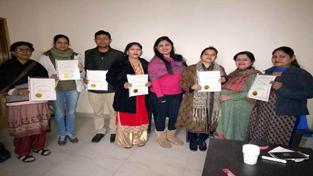 Participants of basic course on Pranic Healing at Jammu on Sunday.
