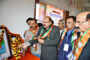 BJP leaders inaugurating working committee meeting of Displaced District at Jammu on Sunday.