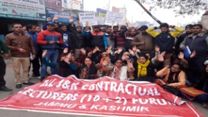 Contractual lecturers protesting for regularization of their services.