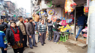 JMC team removing roadside encroachments in Old City on Wednesday.