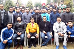 State Power Lifters posing alongwith officials and office bearers of the Association in Jammu.
