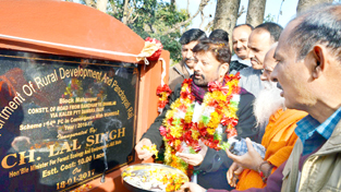 Minister for Forest Choudhary Lal Singh inaugurating construction of road project in Basohli on Wednesday.