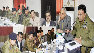 IGP Jammu chairing a meeting at Jammu on Wednesday.