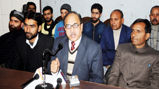 Leaders of JKRCEA addressing a press conference on Tuesday.