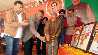 BJP leaders at a meeting of Bharatiya Janata Yuva Morcha at Jammu on Friday.