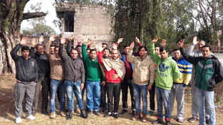 ReTs raising slogans in support of their demands at Ramnagar on Sunday.