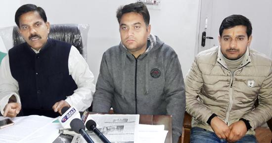 NPP chairman Harsh Dev Singh at press conference in Jammu.
