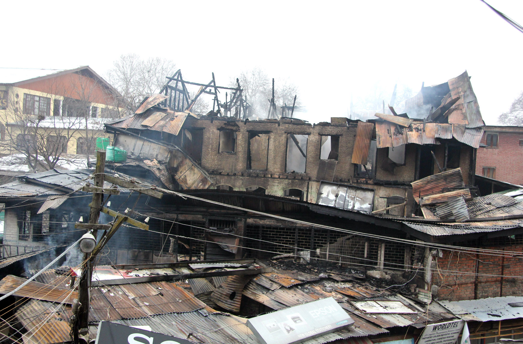Damage caused by the fire at Court Road, Lal Chowk in Srinagar. -Excelsior/ Shakeel