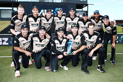 New Zealand cricket team posing for a group photograph after clinching T-20 series against Bangladesh at Mount Maunganui on Sunday.