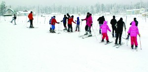 Skiers during Ist Winter Course at Gulmarg.