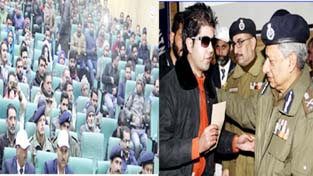DGP Dr SP Vaid felicitating participants on the closing ceremony of South Kashmir Sports Festival at Degree College Anantnag.