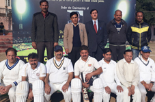 Jubilant Parade Sports Association team posing alongwith chief guest and other dignitaries in Jammu on Wednesday.