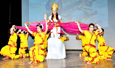 Students presenting a colourful cultural item while celebrating Annual Day at JK Montessorie School in Jammu.