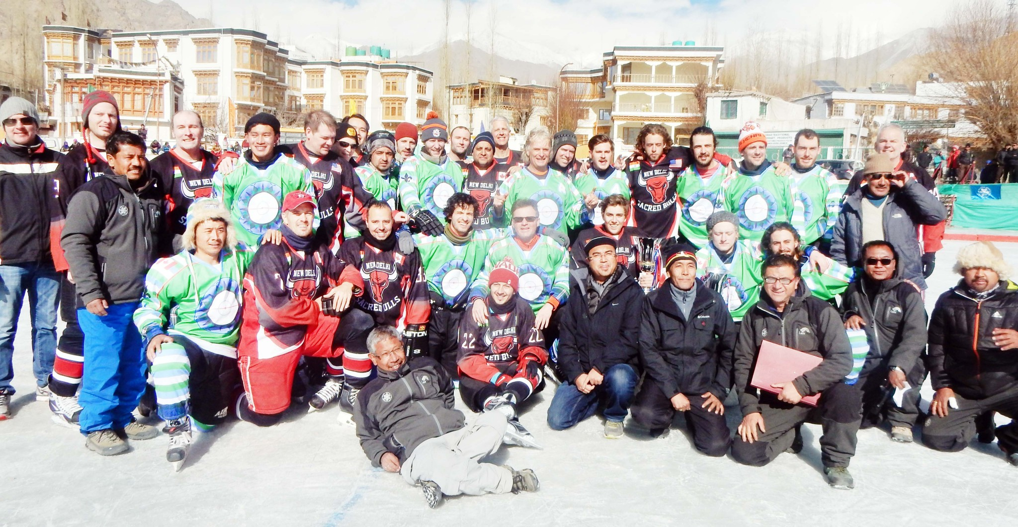 Winners posing for a group photograph after lifting the Indo-Canadian Ice Hockey Friendship Cup. -Excelsior/ Morup Stanzin