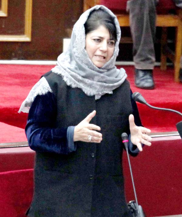 Chief Minister Mehbooba Mufti speaking in Upper House on Monday. -Excelsior/Rakesh
