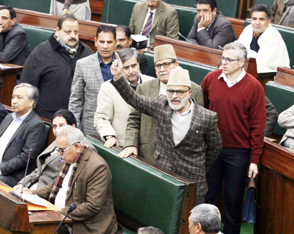 """Excelsior Correspondent JAMMU, Jan 17: All National Conference MLAs led by former Chief Minister and National Conference working president Omar Abdullah today staged a walk-out in the Legislative Assembly in protest against snapping of power supply in the Kashmir valley following heavy rains and snowfall. The National Conference MLAs were on their feet as soon as the Question Hour proceedings began in the Legislative Assembly saying the entire Valley has been experiencing worst ever electricity crisis as power lines to several areas remained snapped following snowfall and rains, making lives of the people miserable. National Conference MLAs including Ali Mohammad Sagar, Mian Altaf, Mohammad Akbar Lone, Aga Syed Ruhullah, Devender Singh Rana, Sheikh Ashfaq Jabbar, Abdul Majid Larmi and others, present in the House, were on their feet protesting delay in restoration of power supply in several parts of the Kashmir valley as electric poles and lines were snapped after the snowfall and rains. Sagar, Lone and Altaf said many areas of the Kashmir valley were reeling under darkness and there had been no efforts to restore power supply in the extreme winter. """"The people are suffering. The governance is missing. The administration is not doing its job,'' the NC MLAs lamented. Deputy Chief Minister Dr Nirmal Singh, who holds the charge of Power Development Department, reacted to the National Conference protests and, in his statement in the House, maintained that 80 per cent electricity supply has been restored in the Kashmir valley. """"Snowfall and rains had caused heavy damage to power infrastructure. Power supply was badly affected as lines were snapped following snowfall and rains. We had immediately called a meeting of all senior officers of the Power Development Department (PDD) and held video conferencing with the Valley based officers. Within two days, electricity supply to several areas was restored. Now, electricity is being supplied to 80 per cent areas,'' Dr Singh sai"""