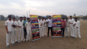 Players posing for a photograph during inaugural function of KCSC Winter Cup in Jammu on Wednesday.
