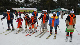 Young skiers displaying skill during Winter Carnival 2017 at Patnitop.