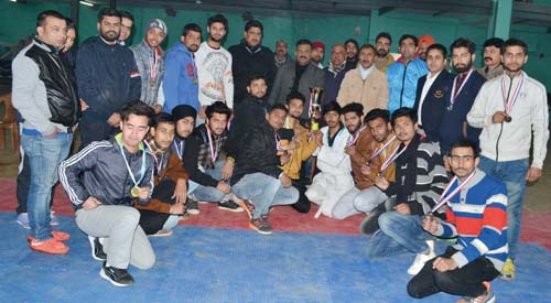 Winners of Taekwondo Championship posing alongwith chief guest and other dignitaries in Jammu on Thursday.