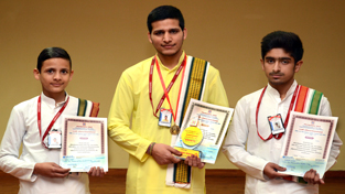 Master Anish Sharma, Master Gourav Sharma and Master Shubham Sharma, students of Gurukul who won awards in All India Sanskrit Shastric Contest.