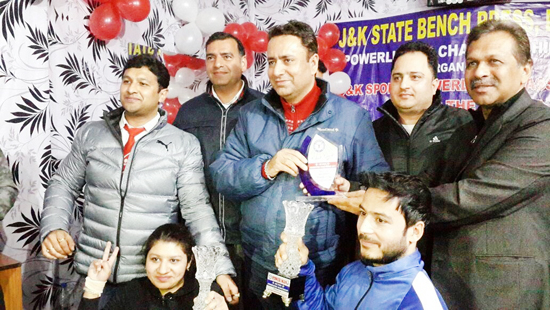 Minister for Food and Supplies, Ch Zulfkar Ali and other dignitaries during concluding function of State Powerlifting Championship on Sunday.