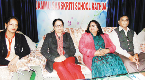 Principal of Jammu Sanskriti School Kathua alongwith others, addressing a press conference on Wednesday.