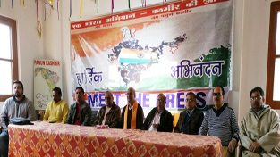 Leaders of Nationalist Organisations and Panun Kashmir addressing media persons in Jammu on Friday.