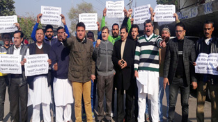 NPP activists staging protest against settlement of foreign nationals in Jammu.