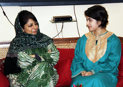 Chief Minister Mehbooba Mufti interacting with Zaira Wasim Khan.