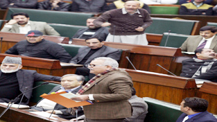 PHE Minister Sham Choudhary and Independent MLA Engineer Rashid exchanging words in the Assembly on Tuesday.-Excelsior/ Rakesh