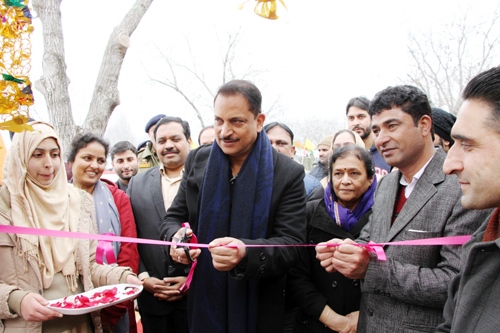 Union Minister Rajiv Pratap Rudy inaugurating Skill Development Institute at Khonmoh on Thursday.