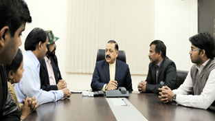 Union Minister Dr Jitendra Singh holding a meeting with a delegation of the specially abled, at New Delhi.