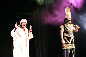 A scene from the Kashmiri play 'Chapare Yee Gash' presented by Vomedh Rangmanch on Monday.