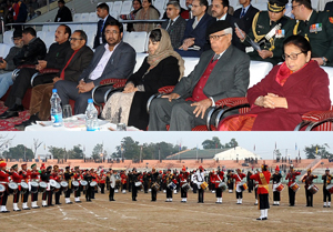 Governor N.N. Vohra, First Lady Usha Vohra, Chief Minister Mehbooba Mufti and others witnessing Beating Retreat ceremony at Jammu on Sunday.