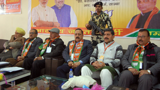 BJP leaders during Working Committee meeting at Samba on Sunday.