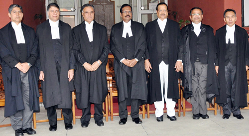 Chief Justice of J&K High Court along with other Judges during farewell function of Justice Muzaffar Hussain Attar.