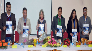 Guests releasing souvenir during inaugural of a conference at SMVDU on Sunday.