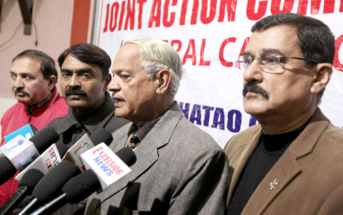 Members of JAC interacting with media persons at Jammu on Saturday.