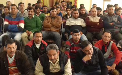 ReTs participating in a monthly meeting at Udhampur on Sunday.