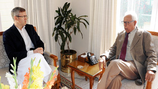 Governor N N Vohra and Working President of the National Conference Omar Abdullah during a meeting at Jammu on Wednesday.