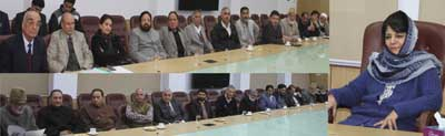 Chief Minister Mehbooba Mufti interacting with a delegation of former legislators at Jammu on Friday.
