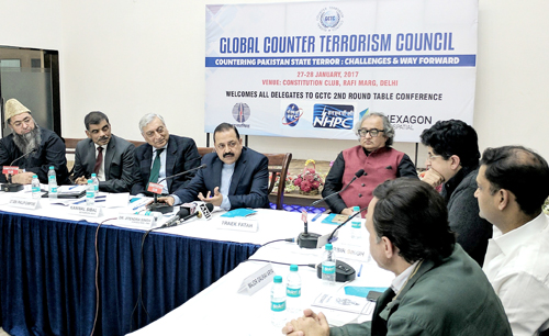 "Union Minister Dr Jitendra Singh addressing a Round-Table Conference on ""Countering Pakistan State Terror"" organized by Global Counter Terrorism Council, at Constitution Club, New Delhi on Saturday."