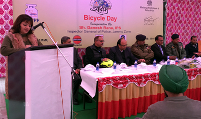 IGP Danesh Rana and others during Bi-cycle Day programme on Saturday.
