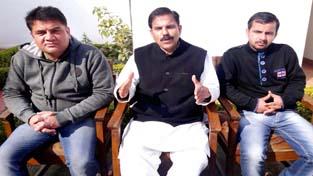 NPP leader Harshdev Singh addressing press conference in Jammu.
