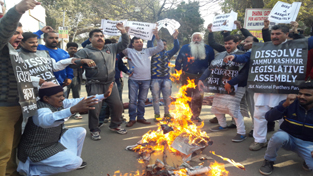 Panthers Party activists protesting against alleged failure of State Govt.