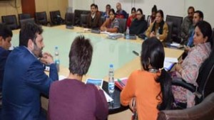 Minister of State for Tourism Priya Sethi chairing a meeting at Jammu on Tuesday.