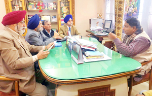 A joint delegation of DPs during meeting with State BJP president in Jammu on Friday.
