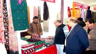 Managing Director, Handloom Development Corporation Showkat Ahmed Zargar inspecting a stall at Special Handloom Expo at Katra.