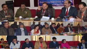 Divisional Commissioner Dr Pawan Kotwal chairing a meeting at Jammu on Tuesday.