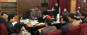 Chairman Legislative Council Haji Anayat Ali chairing a meeting on Friday.